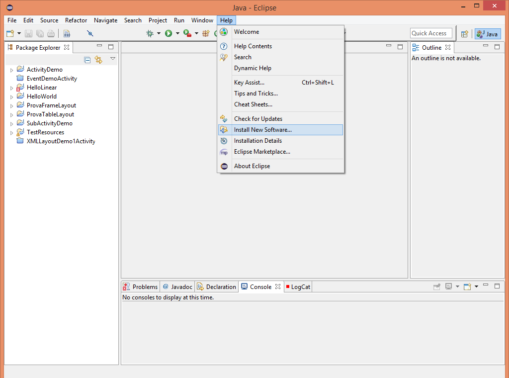 ADT Plugin for Eclipse, installa nuovo software
