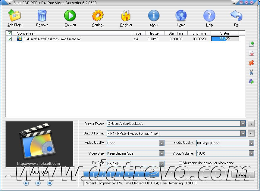 Convertire video con Allok 3GP PSP MP4 iPod Video Converter