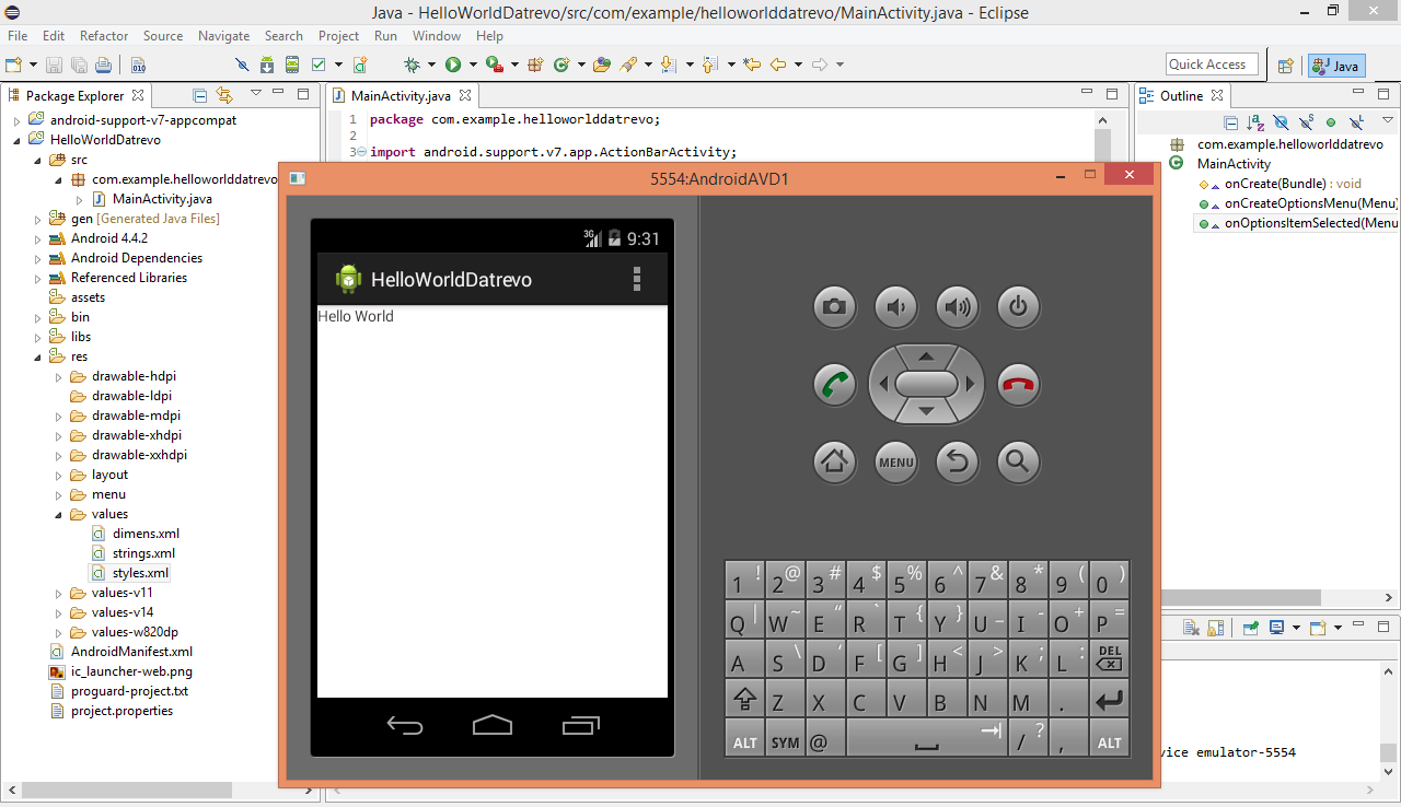 Android AVD icapplicazione