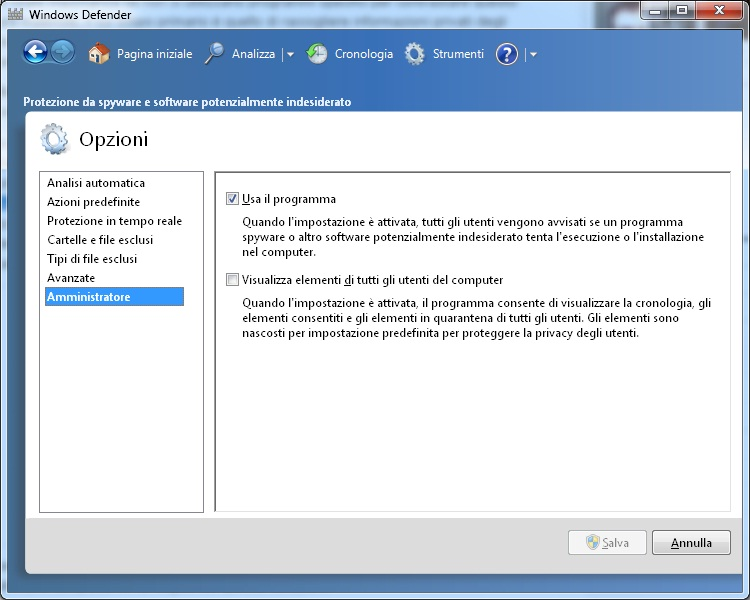 Come disabilitare Windows Defender in Windows 7
